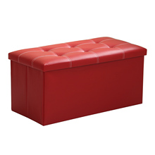 Large Folding Storage Faux Leather Pouffe Seat Stool Box size76cm Colour:red(China)
