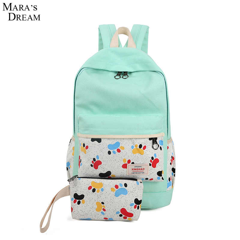 Maras Dream 2016 Backpack Fashion Fresh Style Printing Footprint Canvas Big Capacity Candy Color Backpack Students Bag Portable<br><br>Aliexpress