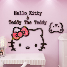 50*30cm 3D Hello Kitty Cat DIY Wall Stickers for Kids Rooms Bedrooms Acrylic Lovely Decals Poster Home Decor(China)