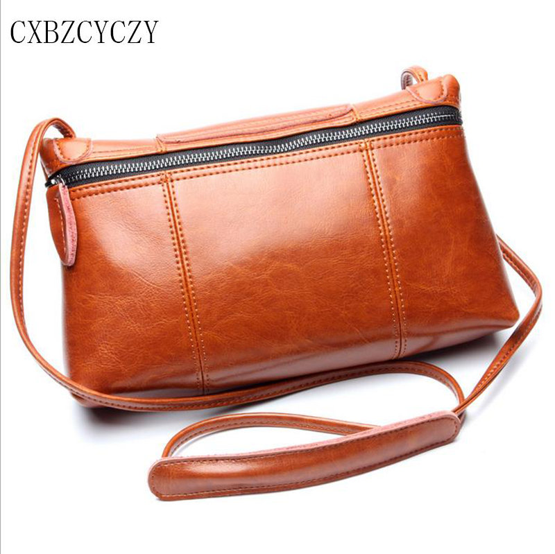 2017 Women Messenger Bags Soft Cowhide Genuine Leather Oil wax Crossbody Female Shoulder Bags For Women Ladies Handbags Bolsas<br>