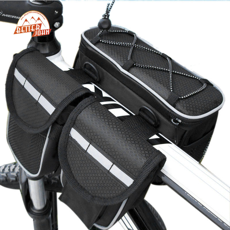 MTB Road Bicycle Front Tube Bag Mountain Bike Phone Bottle Rack Bag Frame 4 1 Multifunction 3 Color Bicycle Accessories