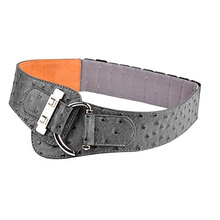 Fashion women Ostrich print leather belts grey and black Novelty gold C buckle girls's elastic wide belt nice quality bg-277