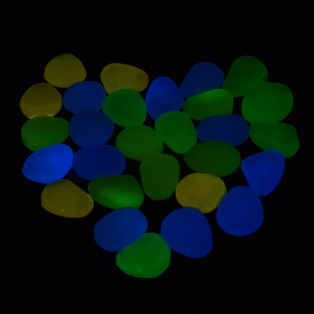 Transer Pebbles Rocks for Outdoor 50 PC Glow in Dark Pebbles Stones D Walkway Garden and Aquarium Fish Tank Decoration