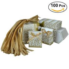 100pcs Party Gifts Favor Bags Bowknot Paper Candy Box For Wedding Decoration Kraft Wedding Favors And Gifts Box(China)