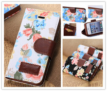 Deluxe Cloth grain Leather Magnetic Design Stand Wallet Card Slot and Money Slot Cover Flip Case For iPhone 5 5G 5S Flower Heart(China)