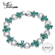 JewelryPalace Butterfly Shape 6.8ct Created Emerald Tennis Bracelet For Women S925 Sterling Silver Jewelry Fine Jewelry On Sale(China)