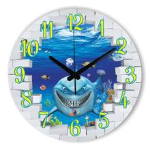 Cartoon 3D Shark Decoration Wall Clock With Silent Clock Movement Fashion Kids Room Wall Decoration Watch Home Decoration Gift(China)