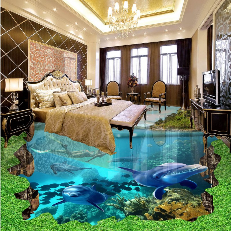 Free shipping custom floor baby room living room bathroom wallpaper self-adhesive home decoration mural Sea World 3D Floor<br>