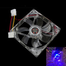 120mm 12V Cooling Fan Computer PC CPU Cooler Clear Compute Case Quad 4 Blue LED Light 2017 fashion new style(China)