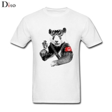 Love Peace Logo Panda Soldier T Shirt Men's Street Short Sleeve Thanksgiving Day Custom Big Size Group  Tshirt