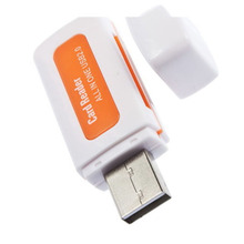 5 Pieces/Lot portable 4 in 1 Memory Multi Card Reader USB 2.0 for SD/TF/T-Flash/M2 Memory Cards Readers VC393 P40(China)
