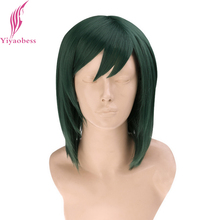 Yiyaobess 35cm Synthetic Straight Green Cosplay Wig Medium Long Hair For Costume Party(China)
