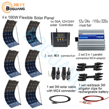 Boguang 600w system kit 100w flexible solar panel 1000w inverter 12v/24v 50A controller MC4 connector for battery RV yard power