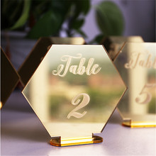 Hexagon Table Number Signs for Wedding Party Decoration,Gold Acrylic Table Number,Roman Numerals Geometric Boho Centerpiece