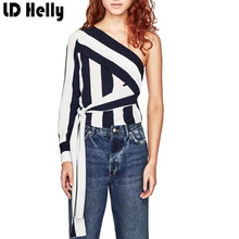 Summer 2017 Women Blouse Thick Striped One Shoulder Design Shirt Off Shoulder Bow Tie Long Sleeve Shirts Tops Blusa Feminino