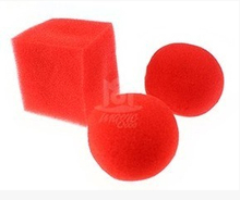 10sets Red Balls To Square(1set=1pcs square + 2pcs ball) Spong Magic Trick Close Up Stage Magie Gimmick Props Comedy prop