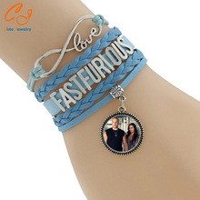 Best seller 1PC Women Love With Fast Furious Pattern Pendant Handmade Alloy Rope Charm Jewelry Weave Bracelet Gift