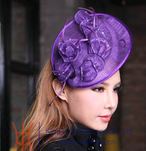 Free Shipping Women Fascinator Hat Natural Women Fashion Dress Hair Accessory Sinamay Purple Hair Clips Party Hats Hair Bands
