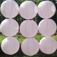 6 Pieces 6-16 inch Chinese Round Pink Paper Lantern Lanterna Papel Wedding Party Decor Lanterne Chinoise Crafts