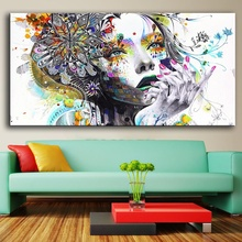 QKART Wall Art Girl With Flowers Oil Painting Poster And Prints Painting On Canvas No Frame Pictures Decor For Living Room(China)