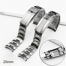 High quality 20mm Silver/Gold 316L Stainless Steel WatchBand Solid Band Bracelet with Oyster Lock For RX watch Free Shipping Men(China)