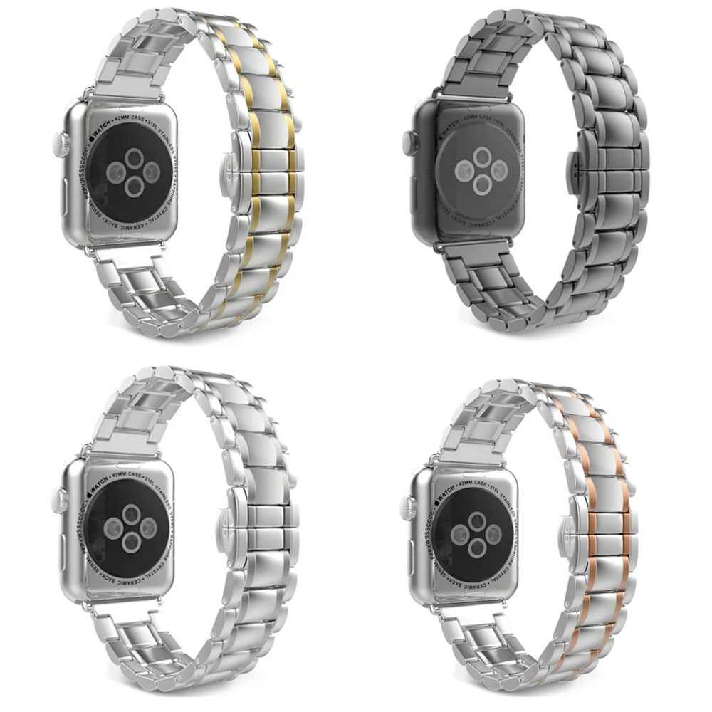 LQ5Z Butterfly Button 316L Stainless Steel Strap for Apple Watch Series 2 Watch Band For iWatch Apple Watch Bracelet w Connector<br><br>Aliexpress