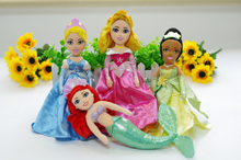 4pcs/lot Princess Plush Toys 30cm The Little Mermaid Ariel, Cinderella, Sleeping Beauty Aurora, The Princess And the Frog Tiana(China)