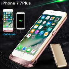 10000mAh External Power bank Pack backup battery Charger Case For iPhone 6 6s Plus 7 7Plus with tempered glass film USB line