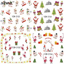 YZWLE 1 Sheet Christmas Design DIY Decals Nail Art Water Transfer Printing Stickers Accessories For Nails(China)