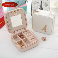 Hot Sales Women Gift Jewelry Box Travel Makeup Organizer Faux Leather Case with Mirror and Zipper Cosmetic Case Organizer UIE384