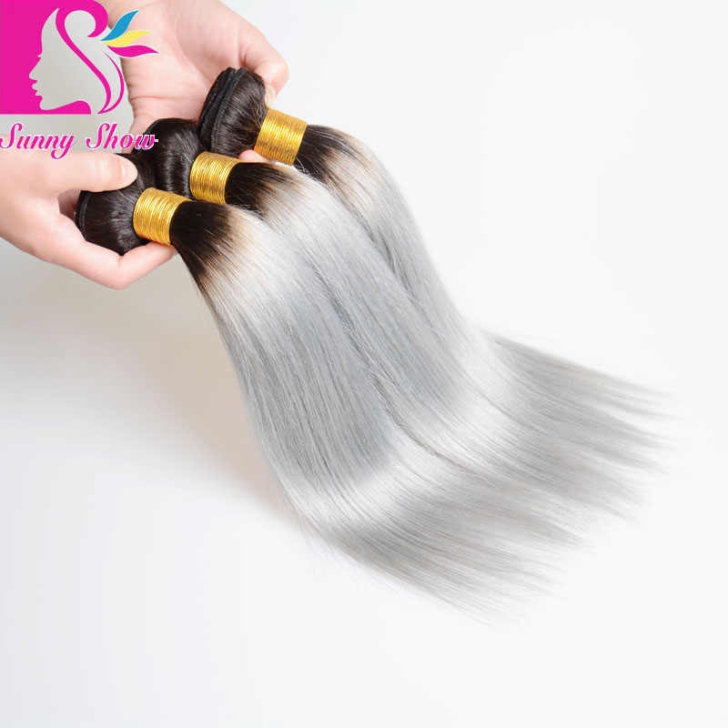 New Fashion best quality cheap 1B Grey Ombre Human Hair Weave Dark Root Ombre Hair Extensions Gray Ombre Straight Hair 2 Bundles<br><br>Aliexpress