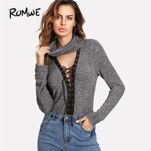 ROMWE Cowl Neck Plunging Lace Up Marled Tee Shirt 2018 New Grey High Neck Stretchy Woman Top Slim Fit Plain T Shirt(China)