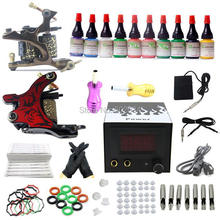 USA Dispatch Complete Beginner Tattoo Kit 2 Machine guns LCD Power 10 Ink Pigment Needle Tip Grip Equipment set A01K003 Supply