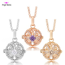 2017 New 20.5mm Essential Oil Cage Interchangeable Jewelry Butterfly Design CZ Pendants Fragrance Necklaces for Women Gifts L095(China)