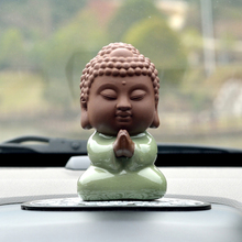 Handmade Lovely Buddhist Monks Buddha Figurine Car Ornaments Pendant Charms Desk Furniture Ornaments Decoration Car Styling Gift(China)