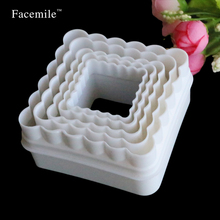 5PCS Wavy Square Fondant Double Cut-Out Set cake Biscuit Bread Cookie Fondant Cutter Mould Sugarcraft Gigt Decoration Tool 01085