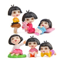 6pcs/lot Dora Explorer Creative PVC Figures Toys DIY Dora PVC Action Figures Collection Model Toys for Garden Home Decoration