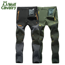 High quality logo Men Winter fleece Softshell Pants Outdoor Waterproof Windproof Long Trousers Camping Pants
