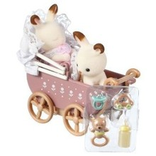 Genuine Sylvanian Families Baby Twins Carriage Miniature Dollhouse Furniture Stroller with 2PCS dolls Kids Pretend Toys for Girl(China)