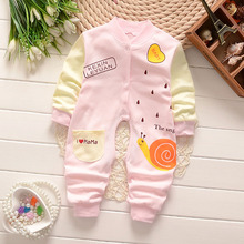 BibiCola Spring Newborn Baby Costumes Jumpsuit Toldder Children Pajamas Long Sleeved Romper Jumpsuit Wear Baby clothes suit