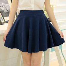 Buy 2017 Summer Womens Sexy Mini Skirts Ladies Soft Beige Empire Skirt Elastic Waist Slim Pleated Skirts Feminino Daily Beauty Skirt for $12.21 in AliExpress store