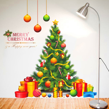Cartoon Merry Christmas Tree Gift Wall Stickers Home Decor Living Room Window PVC Wall Decals Art New Year Poster Diy Mural(China)