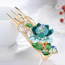 Painting Flower Big Hair Claw Women Costume Hair Accessories Jewelry Gold Plating Hair Clip