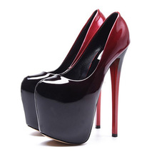 2017 Black Red Patent Leather Sexy 19cm High Heels Women Pumps Ladies Platform Wedding Shoes Woman Chaussure Femme Talon Mariage