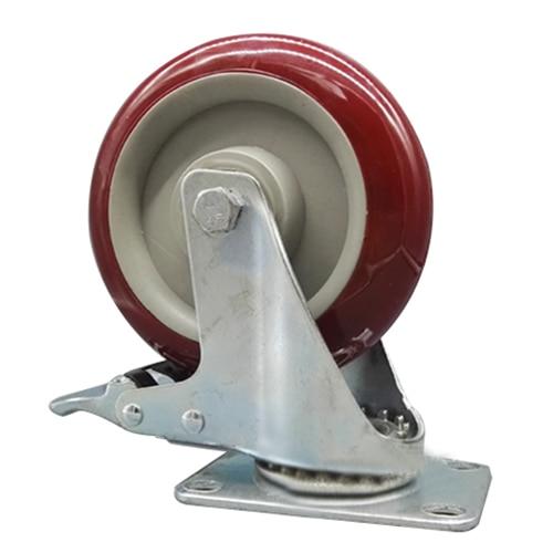 2 x Heavy Duty 125mm Rubber Wheel Swivel Castor Wheels Trolley Caster Brake Set of castor:with brake<br>
