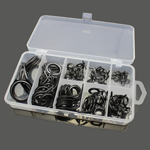 75pcs/Box 8 Sizes Fishing Rod Guides Kits Ceramics&Stainless Steel Circle Fishing Rod Accessories Repair Tool