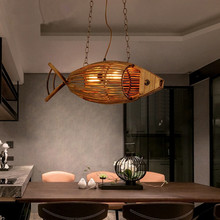 Creative bamboo Fish Restaurant Cafe Bar pendant lamp American country vintage weave personality pendant lights(China)