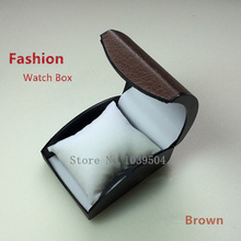 Wholesale Plastic Watch Box Fashion Luxury Brand Watch Gift Box Brown High Quanlity Brand Watch Packing Bracelet Cases(China)