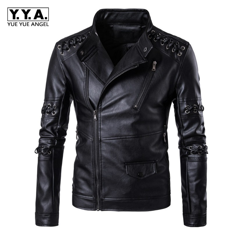 Harajuku Personality Lace Up Pu Leather Jacket Men Punk Show Stage Clothes Stand Collar Jaqueta Motoqueiro Windbreaker Male Coat