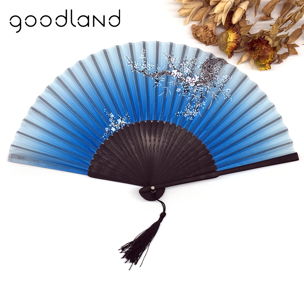 Wholesale Free / Drop Shipping 100pcs/lot Retro Spun Silk Flower Floral Fabric Folding Fan Carved Hand Fan Party Supplies(China)